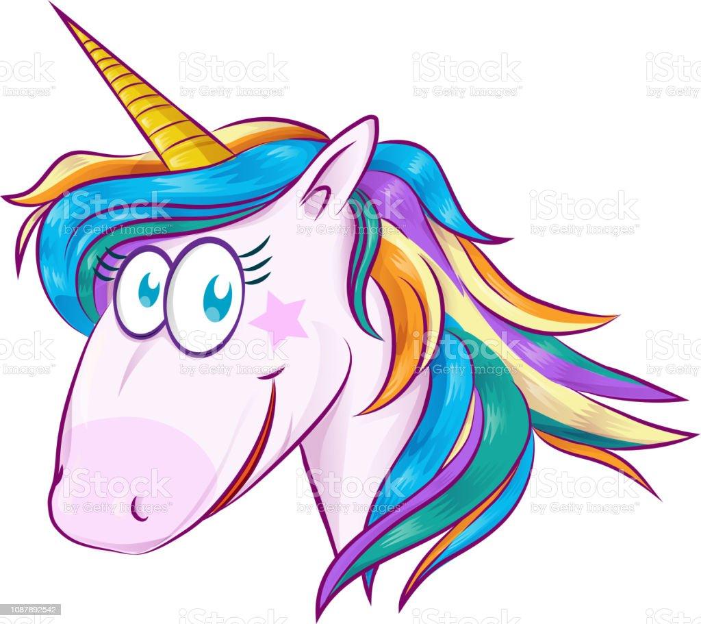 A cute cartoon mascot unicorn isolated on white background vector art illustration