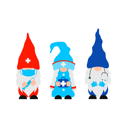 Cute cartoon Medical gnomes. Funny nurse and doctors characters . Vector template for banner, poster, greeting card, t-shirt, etc