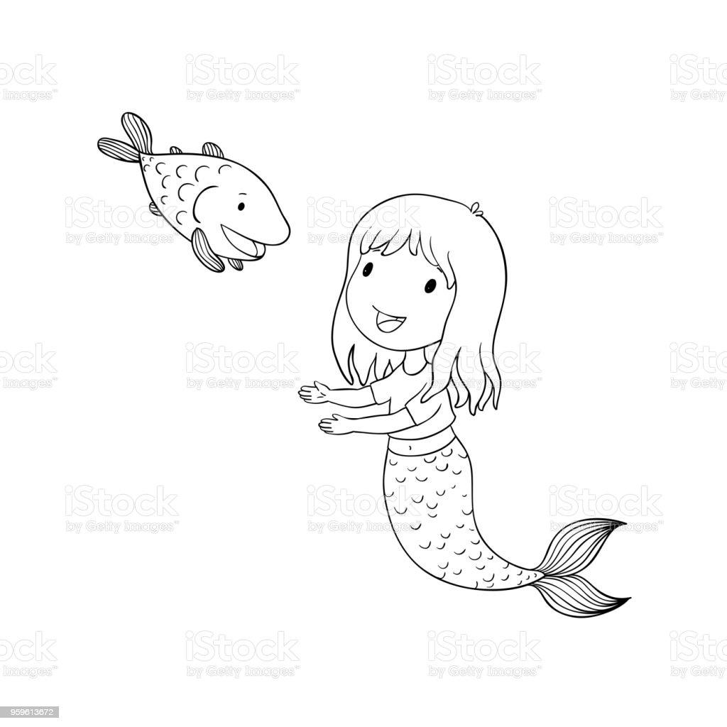 Cute dibujos animados sirena y el pez. Sirena. Tema del mar. objetos aislados sobre fondo blanco. - arte vectorial de Agua libre de derechos