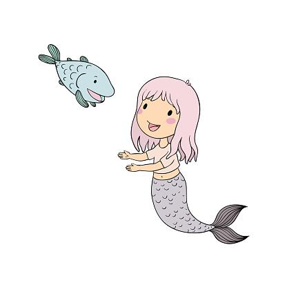 Ilustración de Cute Dibujos Animados Sirena Y El Pez Sirena Tema Del Mar Objetos Aislados Sobre Fondo Blanco y más Vectores Libres de Derechos de Agua