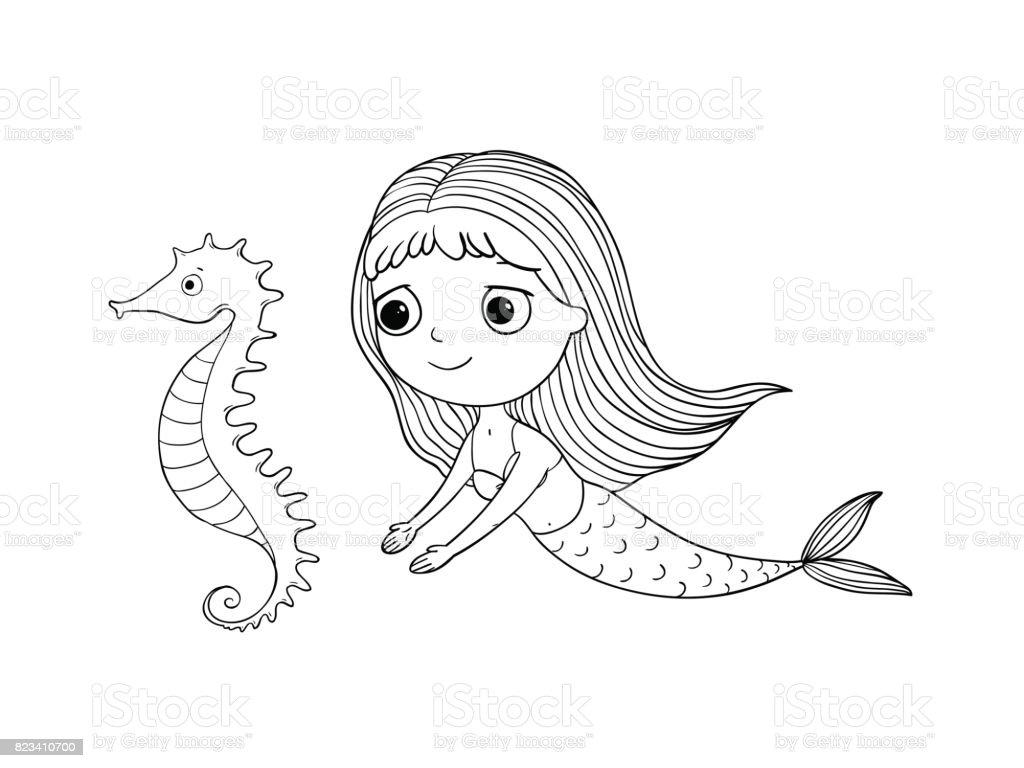 Sevimli Cizgi Deniz Kizi Ve Deniz Ati Siren Deniz Tema Beyaz Arka