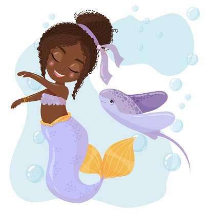 Cute cartoon mermaid with electric stingray. Mermaid with Dark Hair and Purple Tail. Hammerhead shark. A magical creature. Vector illustration isolated on white background.