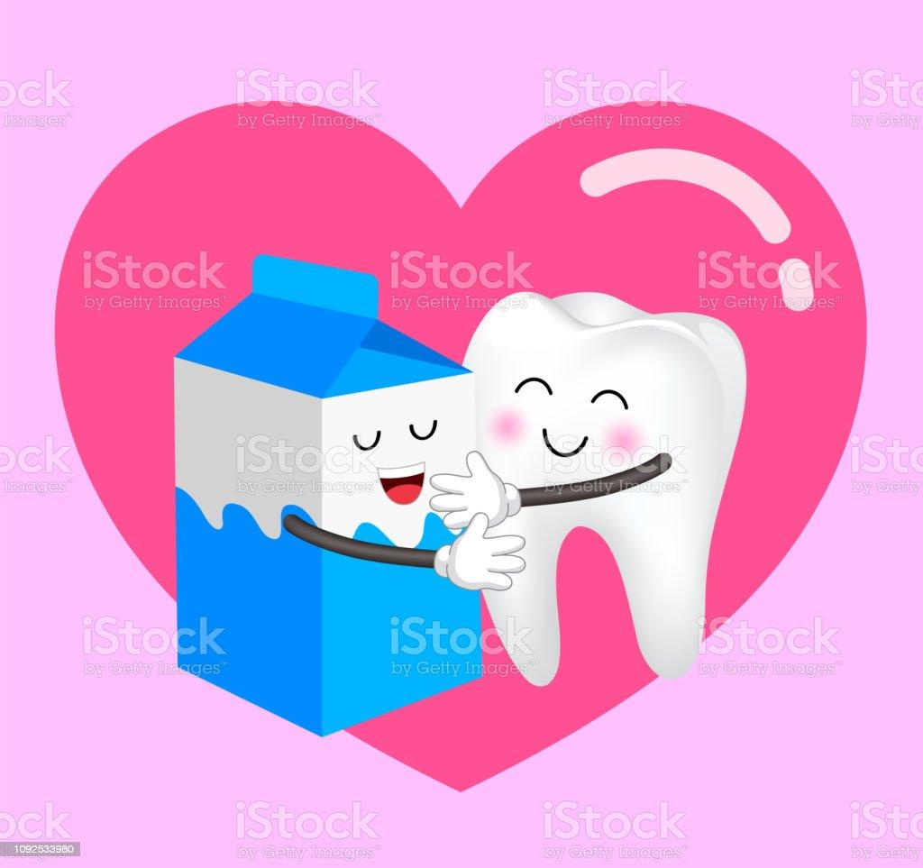 272ee6add Caixa de leite de bonito dos desenhos animados e dente no amor. vetor de  caixa