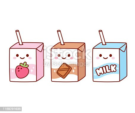 Cute cartoon milk box characters: strawberry, chocolate and regular milk. Kawaii milk cartons with drinking straw and smiling face. Isolated vector clip art illustration set.