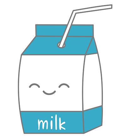 cute cartoon milk box vector illustration isolated on white background