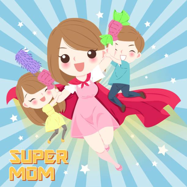 cute cartoon mom vector art illustration