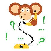 Cute cartoon monkey calling banana phone vector tee print