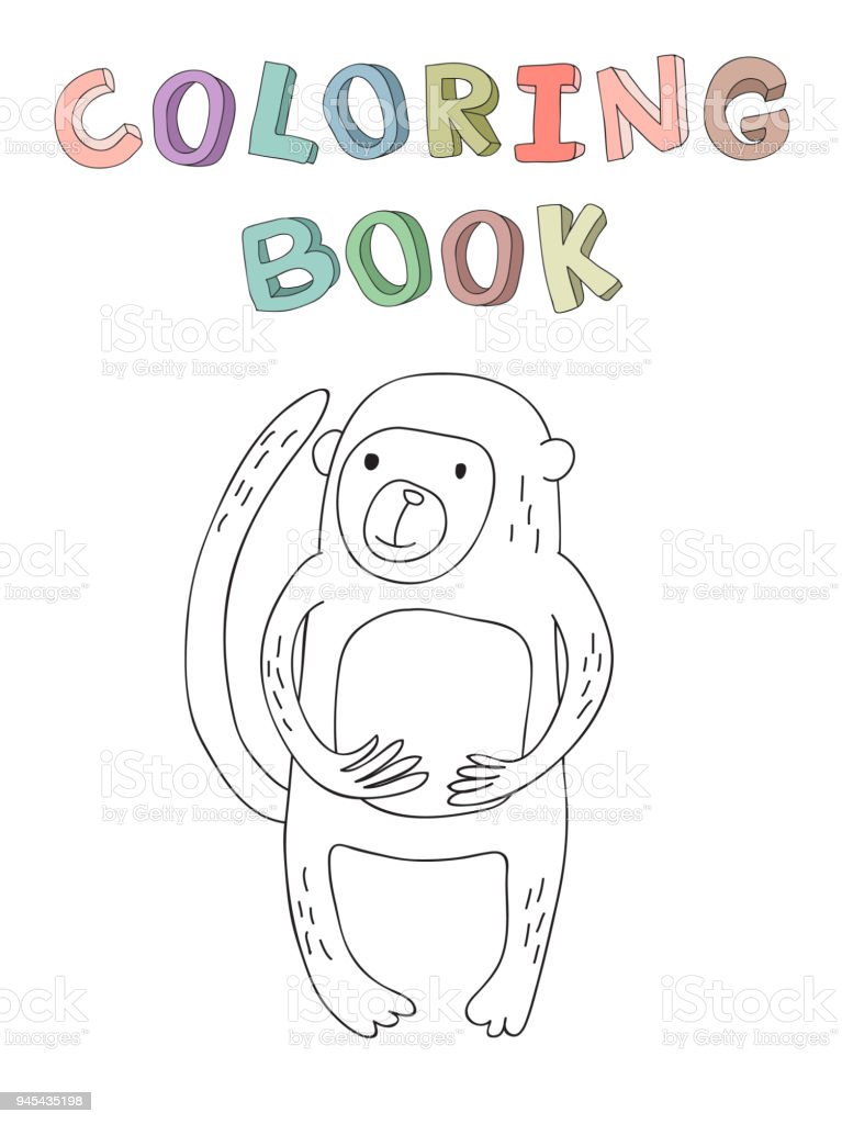 Cute Cartoon Monkey Character Contour Vector Illustration For ...
