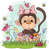 Cute Cartoon Monkey girl on a meadow with flowers and butterflies