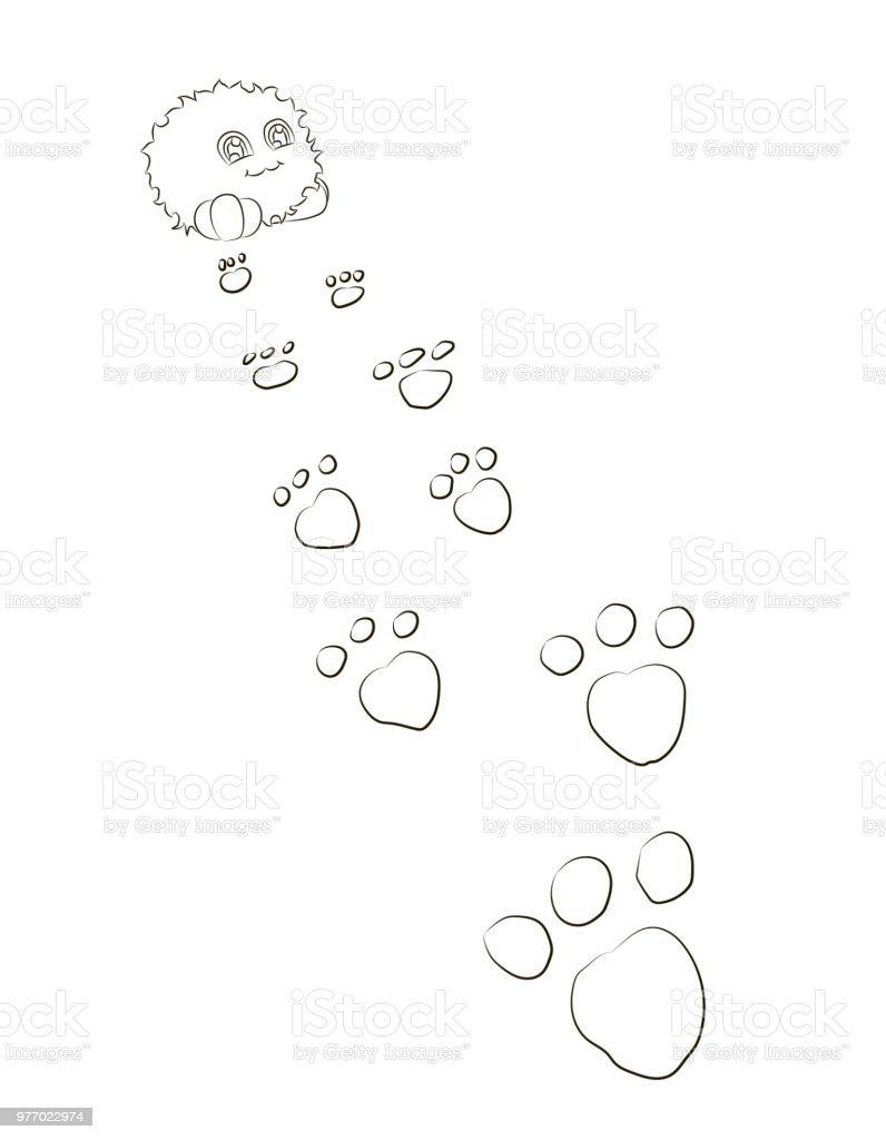 Ilustración de Huellas De Monstruo De Dibujos Animados Lindo Detrás ...