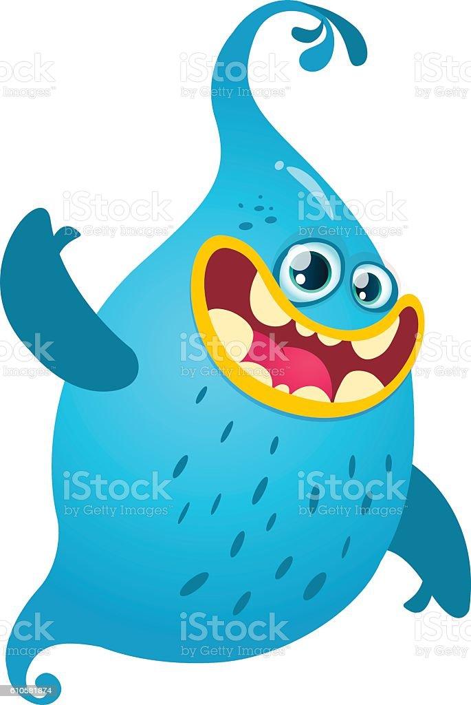 cute cartoon monster halloween vector blue ghost k popのベクター