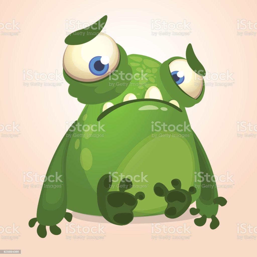 cute cartoon monster halloween vector illustration of upset