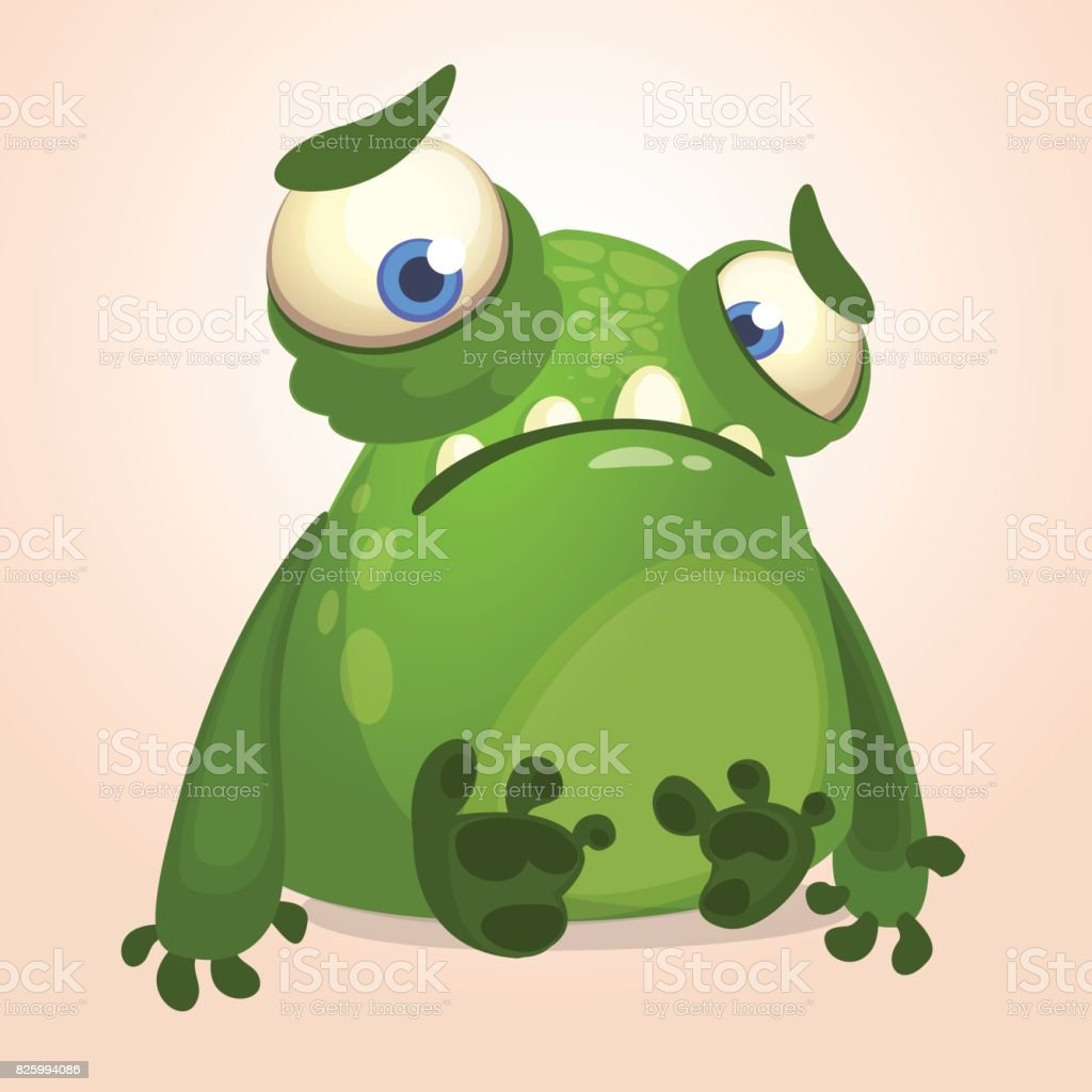 Cute cartoon monster. Halloween vector illustration of upset monster alien vector art illustration