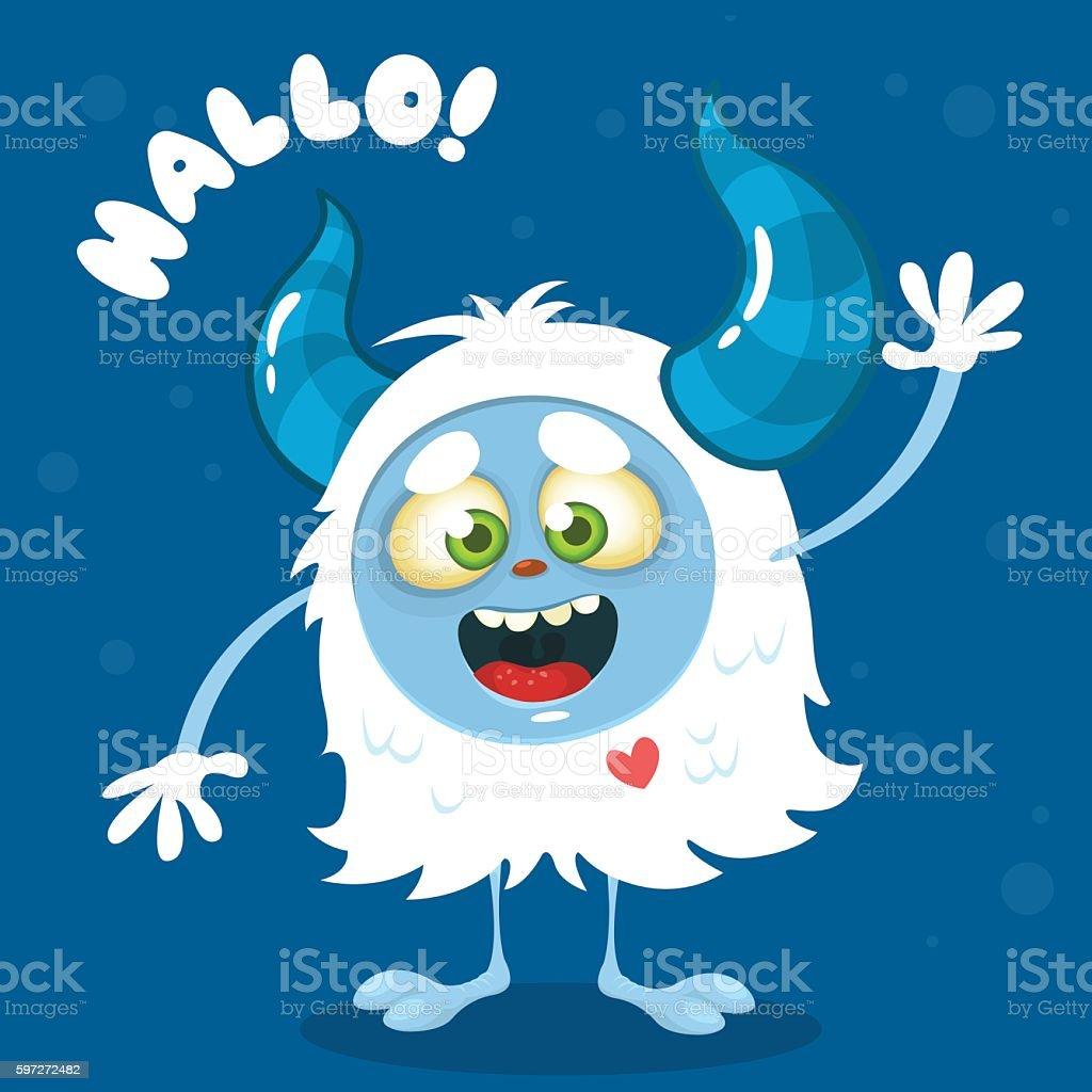 Cute cartoon monster. Vector Halloween  bigfoot character cute cartoon monster vector halloween bigfoot character – cliparts vectoriels et plus d'images de aile d'animal libre de droits