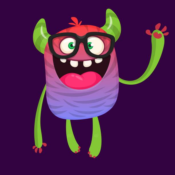 Niedlichen Cartoon Monster tragen Brillen. Halloween-Vektor-illustration – Vektorgrafik
