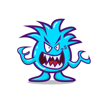 cute cartoon monster with angry face. Fit for t shirt design, print, halloween decoration, birthday party decoration, children book, etc. vector illustration