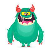 Cute cartoon monster  with horns. Smiling monster emotion with big mouth. Halloween vector illustration