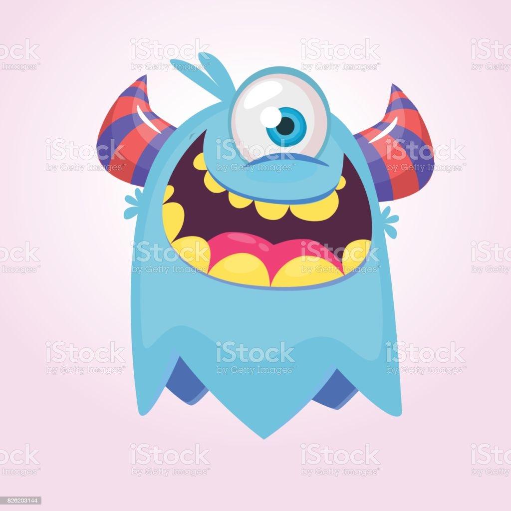 1 つ目の角を持つかわいい漫画モンスター大きな口で笑顔のモンスター