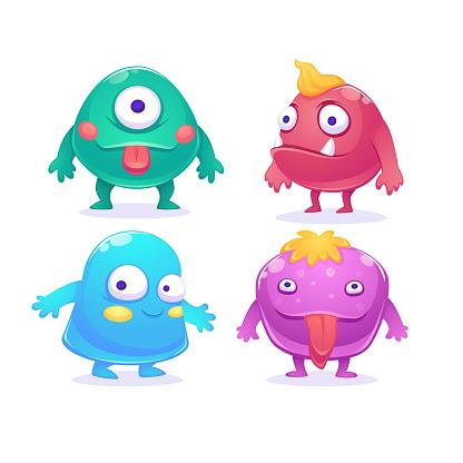 Cute cartoon monsters characters, vector set