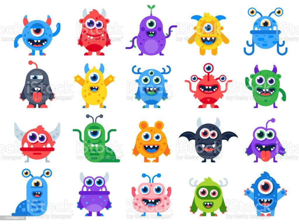 Cute cartoon monsters. Comic halloween joyful monster characters. Funny devil, ugly alien and smile creature flat vector set