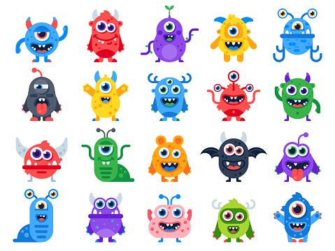 Cute cartoon monsters. Comic halloween joyful monster characters. Funny devil, ugly alien and smile creature flat vector set