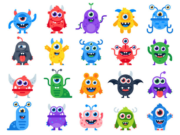 cute cartoon monsters. comic halloween joyful monster characters. funny devil, ugly alien and smile creature flat vector set - cute stock illustrations