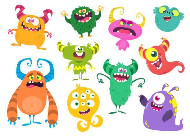 Cute cartoon Monsters. Set of cartoon monsters: goblin or troll, cyclops, ghost,  monsters and aliens. Halloween design Cute cartoon Monsters. Set of cartoon monsters: goblin or troll, cyclops, ghost,  monsters and aliens. Halloween design monster stock illustrations