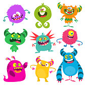 Cute cartoon Monsters. Set of cartoon monsters: goblin or troll, cyclops, ghost,  monsters and aliens. Halloween design