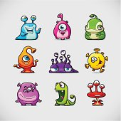 Set of 9 Funny Cartoon Monsters - Vector Illustration.