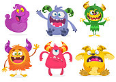 Cute cartoon Monsters. Vector set of cartoon monsters: ghost, goblin, bigfoot yeti, troll and alien and gremlin. Halloween characters isolated