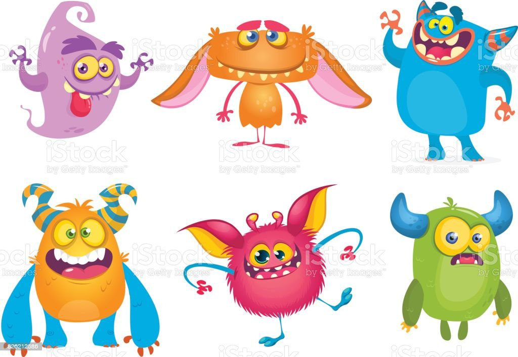 Cute cartoon Monsters. Vector set of cartoon monsters: ghost, goblin, bigfoot yeti, troll and alien. Halloween characters isolated vector art illustration