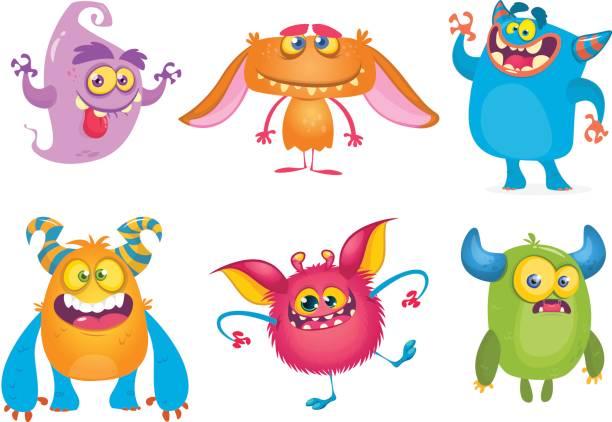 ilustraciones, imágenes clip art, dibujos animados e iconos de stock de cute dibujos animados monstruos. vector conjunto de monstruos de la historieta: fantasma, duende, yeti bigfoot, troll y alien. personajes de halloween aislados - monstruo