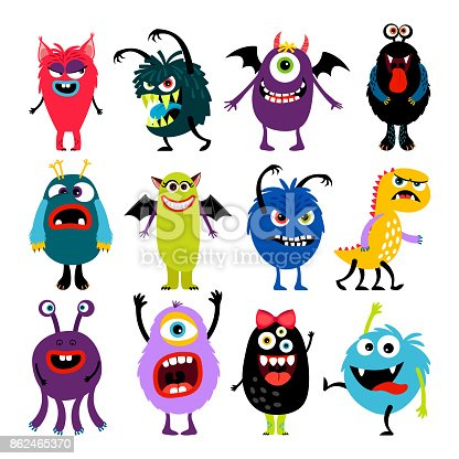 istock Cute cartoon mosters collection 862465370