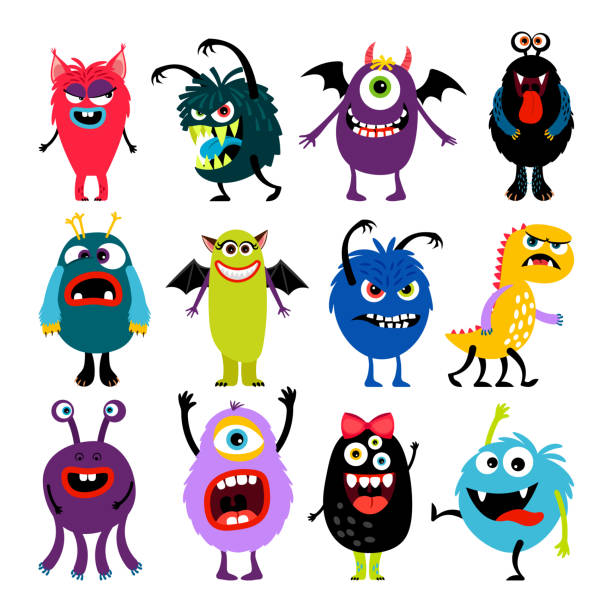 cute cartoon mosters collection - cartoon monsters stock illustrations, clip art, cartoons, & icons