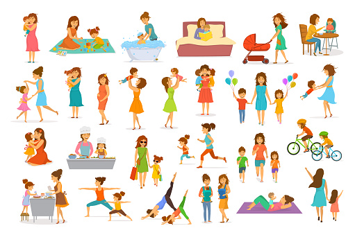 cute cartoon mother and children isolated vector illustration scenes set, mom with daughter son kids baby cook, bake, play ride bike, make exercise sport run yoga dance hug kiss walk, shopping, read book clipart