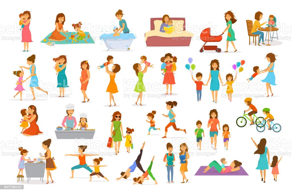 cute cartoon mother and children isolated vector illustration scenes set, mom with daughter son kids baby cook, bake, play ride bike, make exercise sport run yoga dance hug kiss walk, shopping, read book vector art illustration