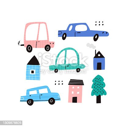 Cute cartoon motor cars, houses and tree collection clipart on white background. Hand drawn childish automobiles, buildings set with texture and doodle drawings. Sketch city flat vector illustration