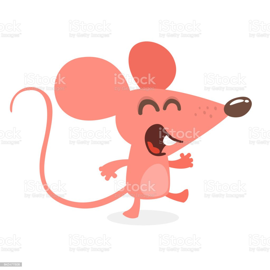 05db3fd1e Cute cartoon mouse dancing and laughing. Vector illustration isolated -  Illustration .