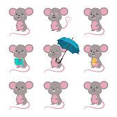 Mouse animal vector cartoon set.