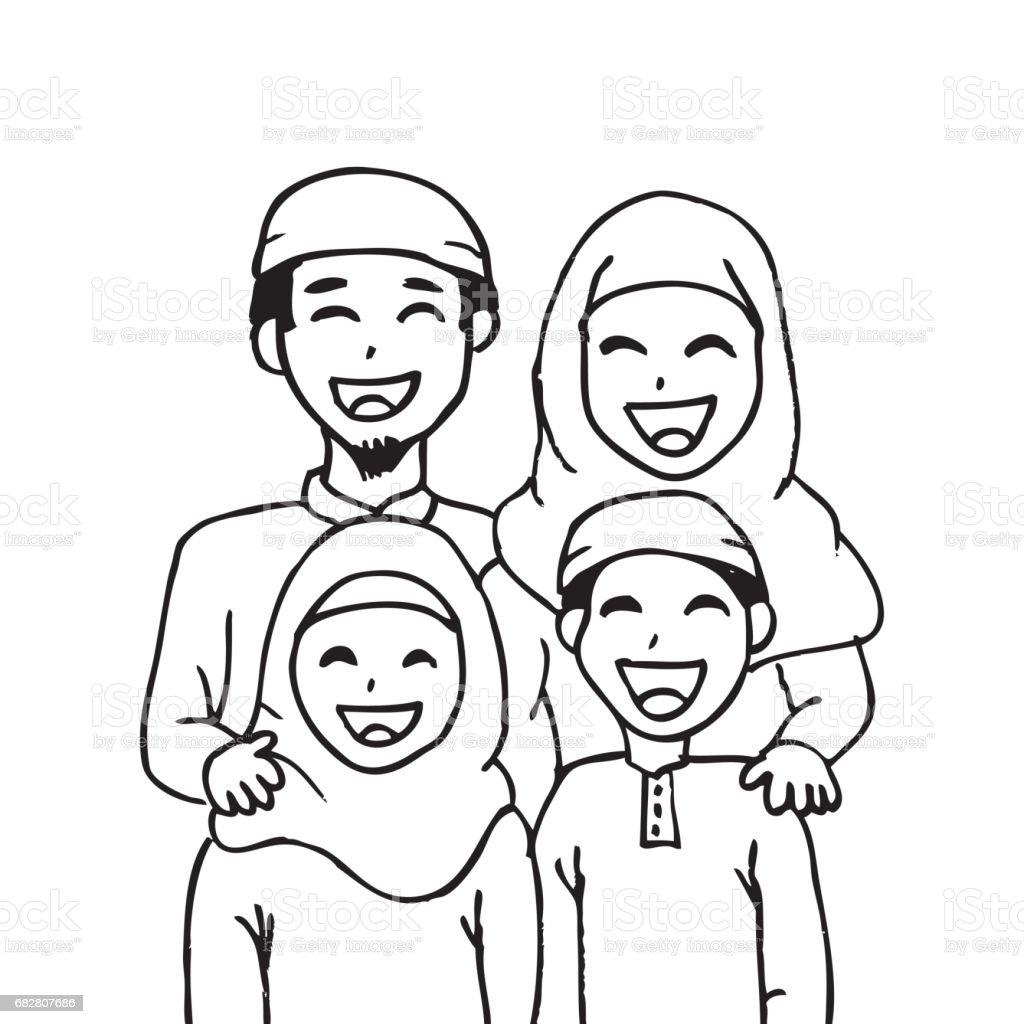 Cute Cartoon Muslim Family Stock Illustration - Download ...