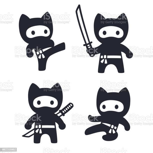 Cute cartoon ninja cat set vector id662203952?b=1&k=6&m=662203952&s=612x612&h=wotm3izzu1rnuacrbaotmmdpihjredejpcwvlwal j8=
