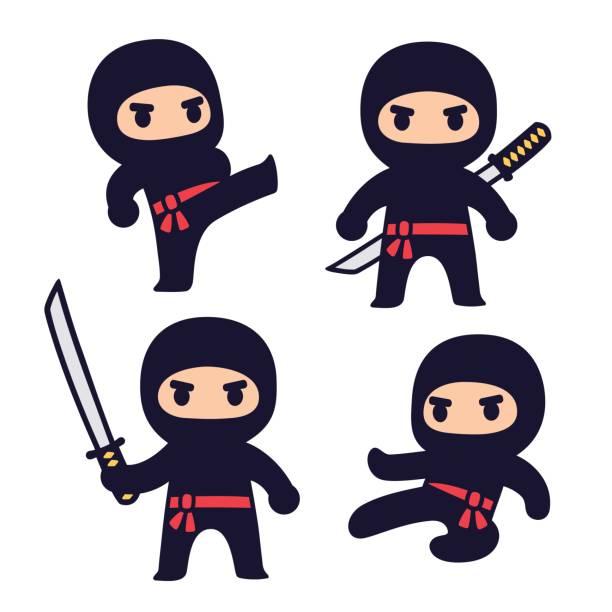 かわいい漫画の忍者セット - 漫画の子供たち点のイラスト素材/クリップアート素材/マンガ素材/アイコン素材