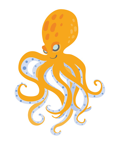Cute Cartoon Octopus Vector Illustration Isolated On White ...