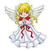 Cartoon illustration of a cute angel