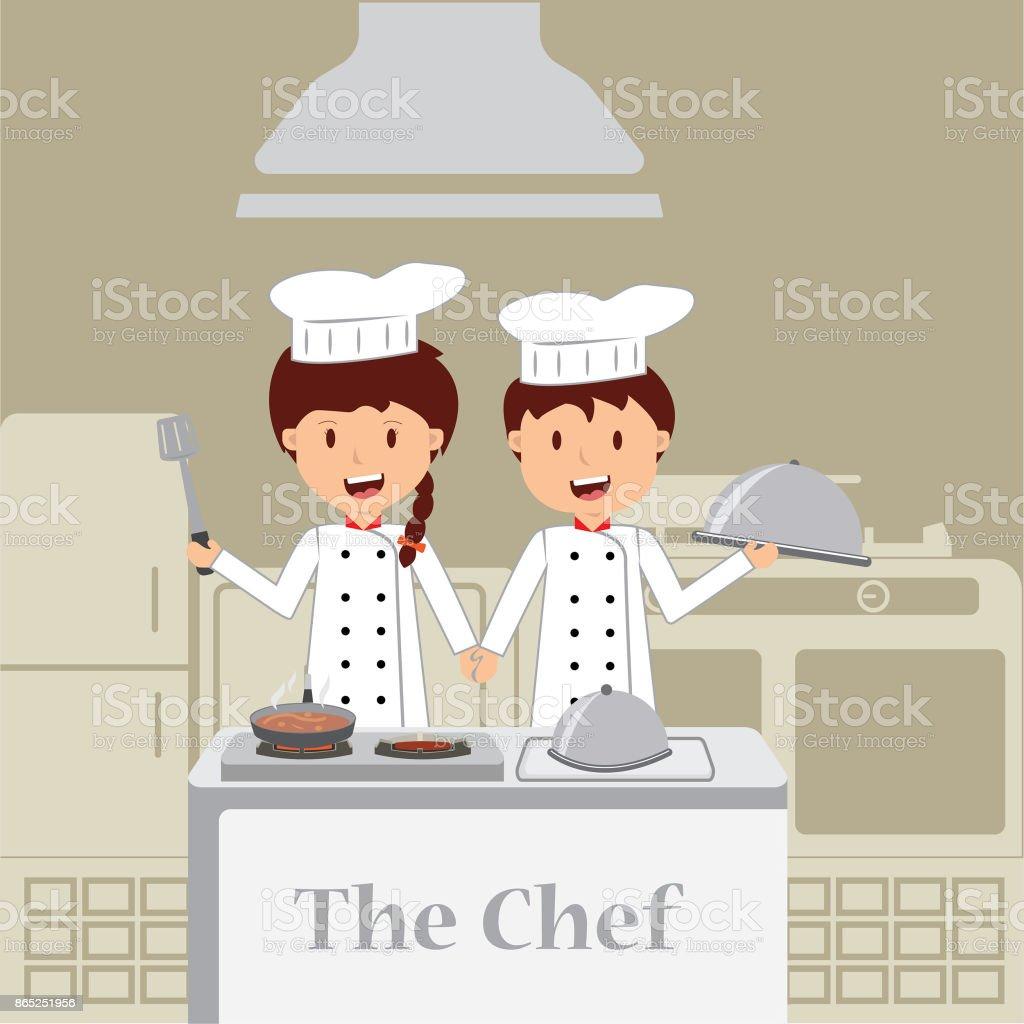 Niedlichen Cartoon Von Kleinen Koch In Der Küche Stock Vektor Art ...