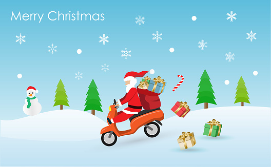 Cute cartoon of Santa Claus riding scooter with giftbag delivery gifts to people in Christmas with falling snow
