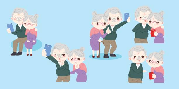 cute cartoon old couple - old man pic cartoons stock illustrations, clip art, cartoons, & icons