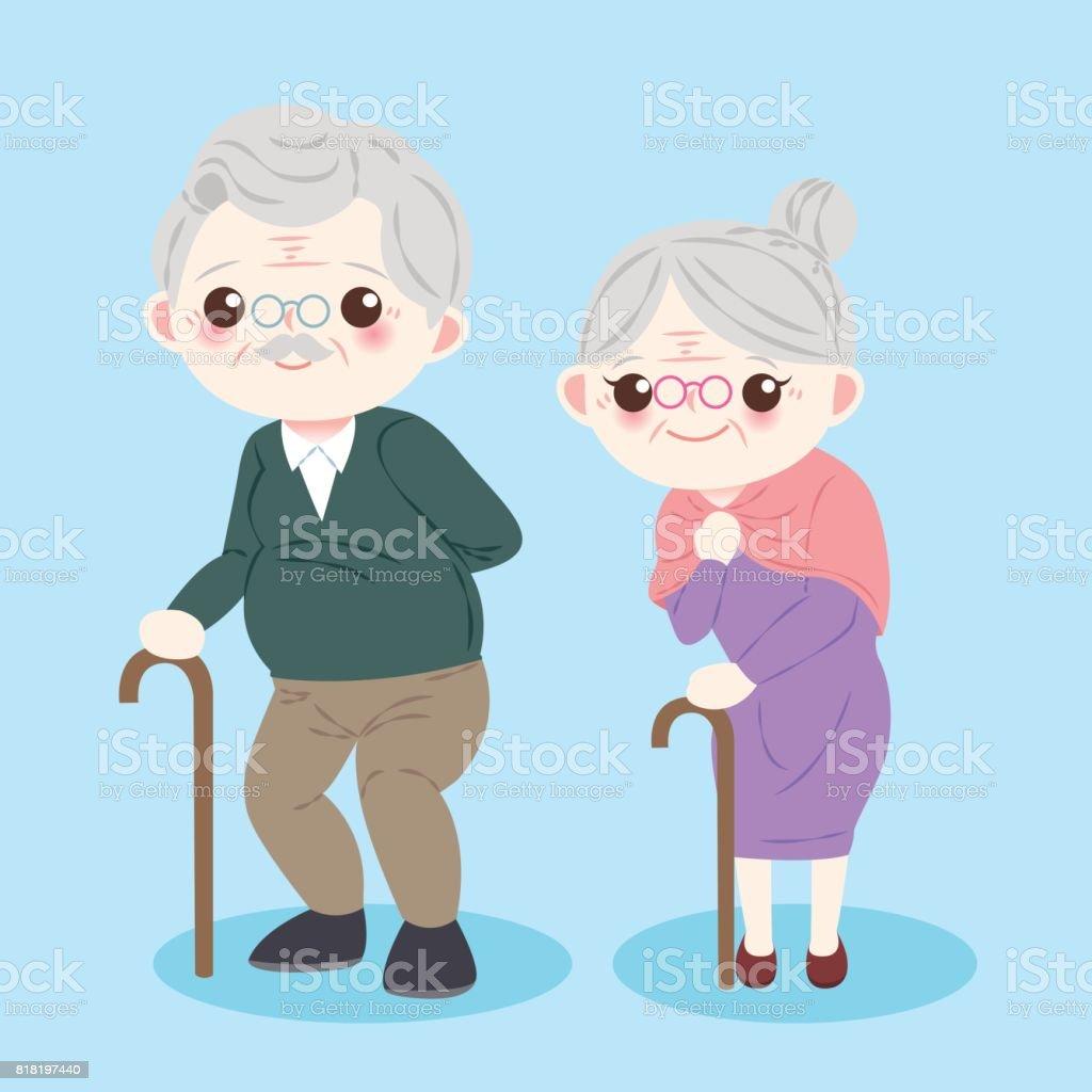 Couple De Vieux Dessin Anime Mignon Cliparts Vectoriels Et Plus D