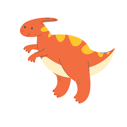 cute cartoon orange dinosaur. duck-nosed parasaurolophus. fantastic, monster, dragon animal on a white background. Stock children's vector illustration.