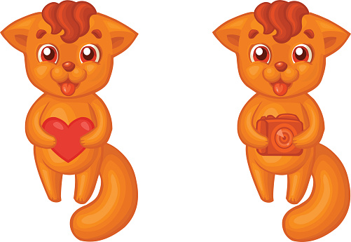 Cute cartoon orange smiling baby fox with heart and with camera